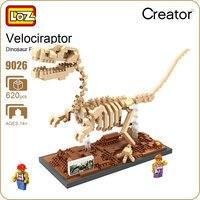 LOZ Ideas Diamond Block Velociraptor Dinosaur Fossil Model Toys DIY Creator Mini Bircks Museum Jurassic World