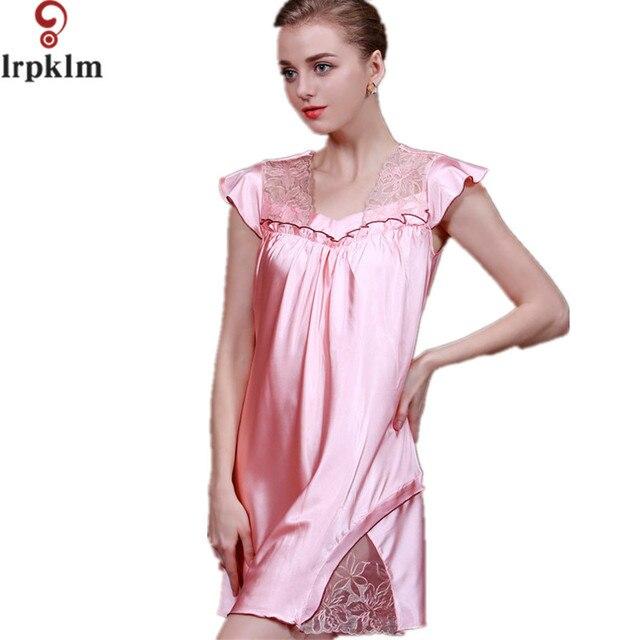 89d37c9be220fa Śliczne Satin Nocne Dla Kobiet Ladies Faux Jedwab Spania Sukienka Kobiet  Mini Koszula Nocna Piżama Nocna