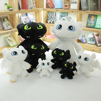How To Train Dragon Toothless Black & White Plush Stuffed Toys For Children