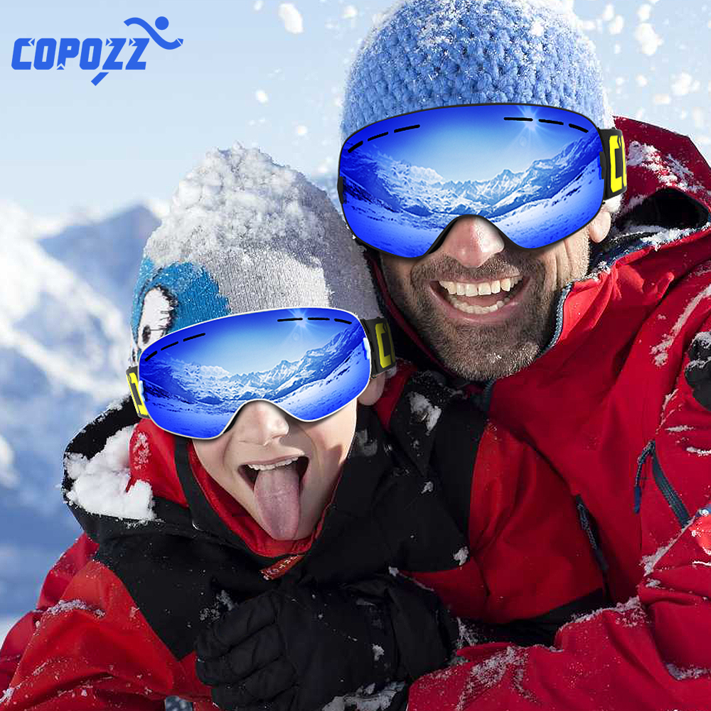 COPOZZ Parent Child Ski Goggles 2 Pack Set Snowboard Anti fog Skiing Glasses UV400 for Famliy