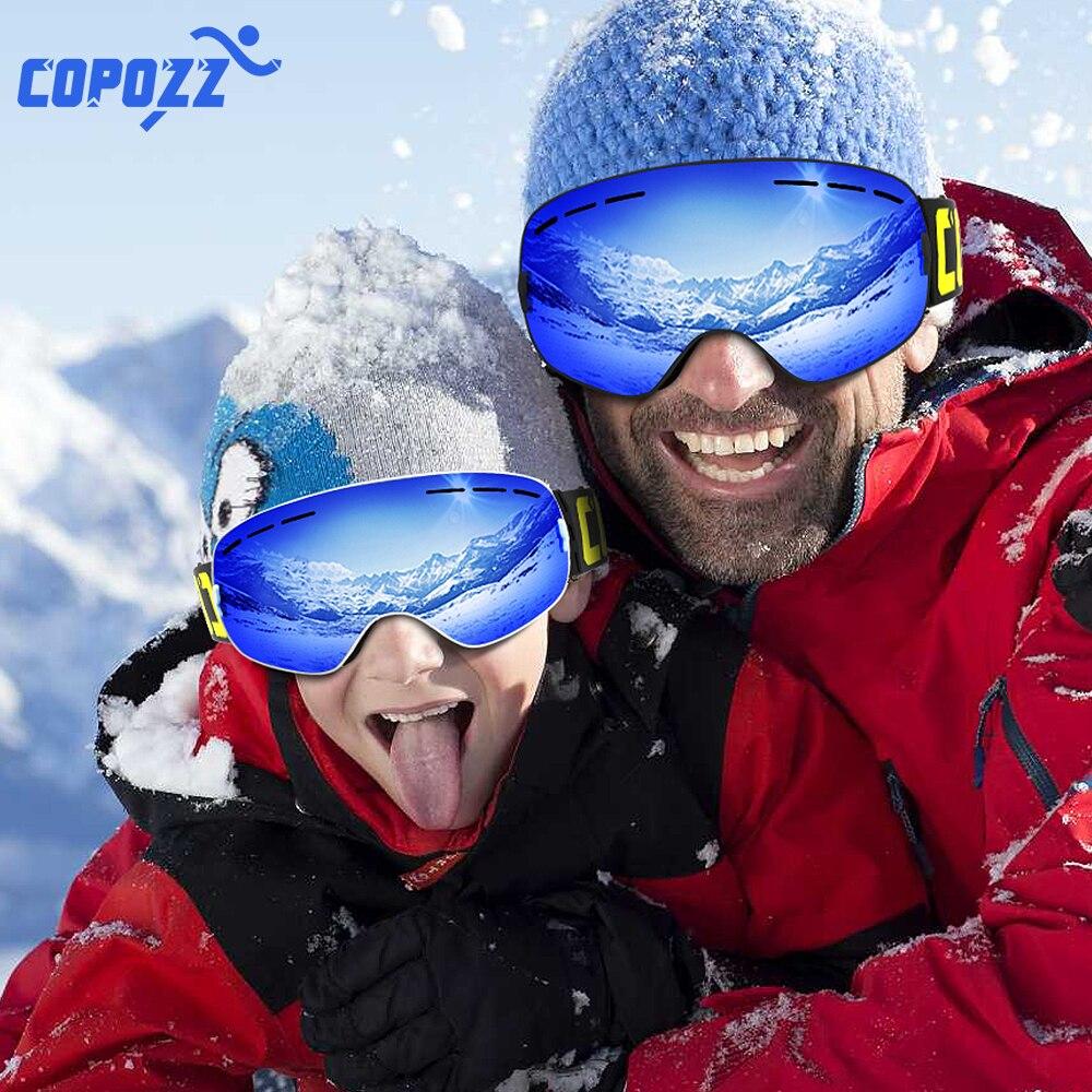 COPOZZ Parent Enfant Ski Lunettes 2 pack Ensemble Snowboard Anti brouillard Ski Lunettes UV400 pour Famliy Hommes Femmes Enfants Sport neige Lunettes