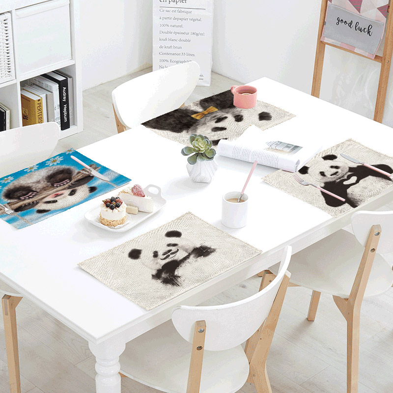 Hyperactive Panda Linens Table Napkins printed Place Mat Polyester Lovely Cute Servilletas Para Bodas Design Party Decoration