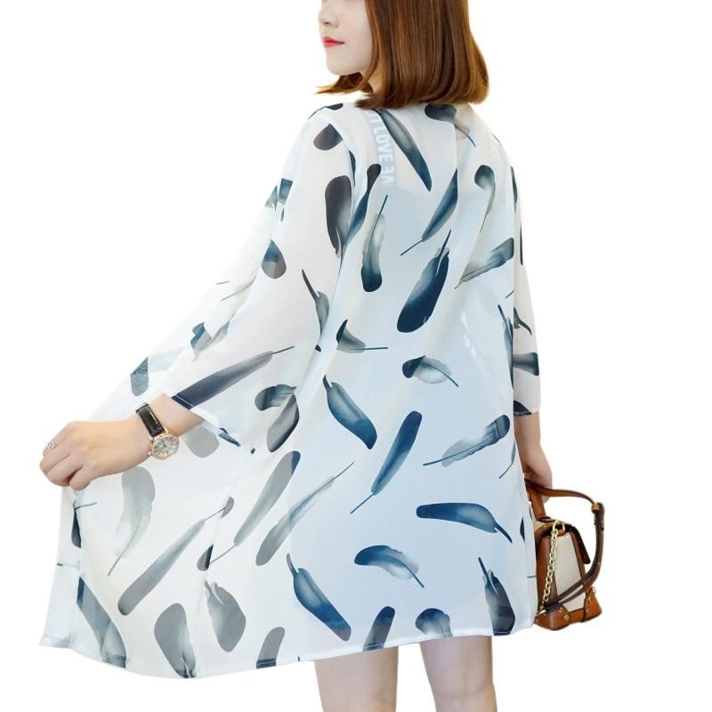HTB1i7TmKXOWBuNjy0Fiq6xFxVXaM - Blusas Mujer De Moda  New Women Summer Chiffon Blouse Pinted Casual Kimono Cardigan Long Blouses Sunscreen Tops Plus Size