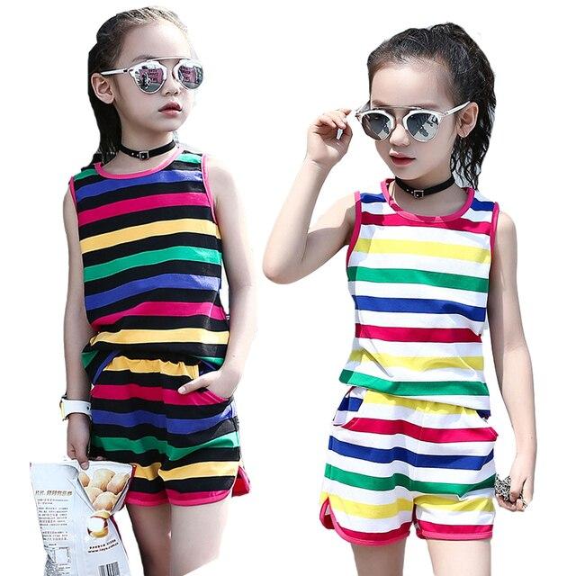 df323d9e686e € 12.7 25% de DESCUENTO|Conjuntos de ropa para niñas camisetas ropa  deportiva sin mangas a rayas chalecos y pantalones cortos 2 piezas verano  ...