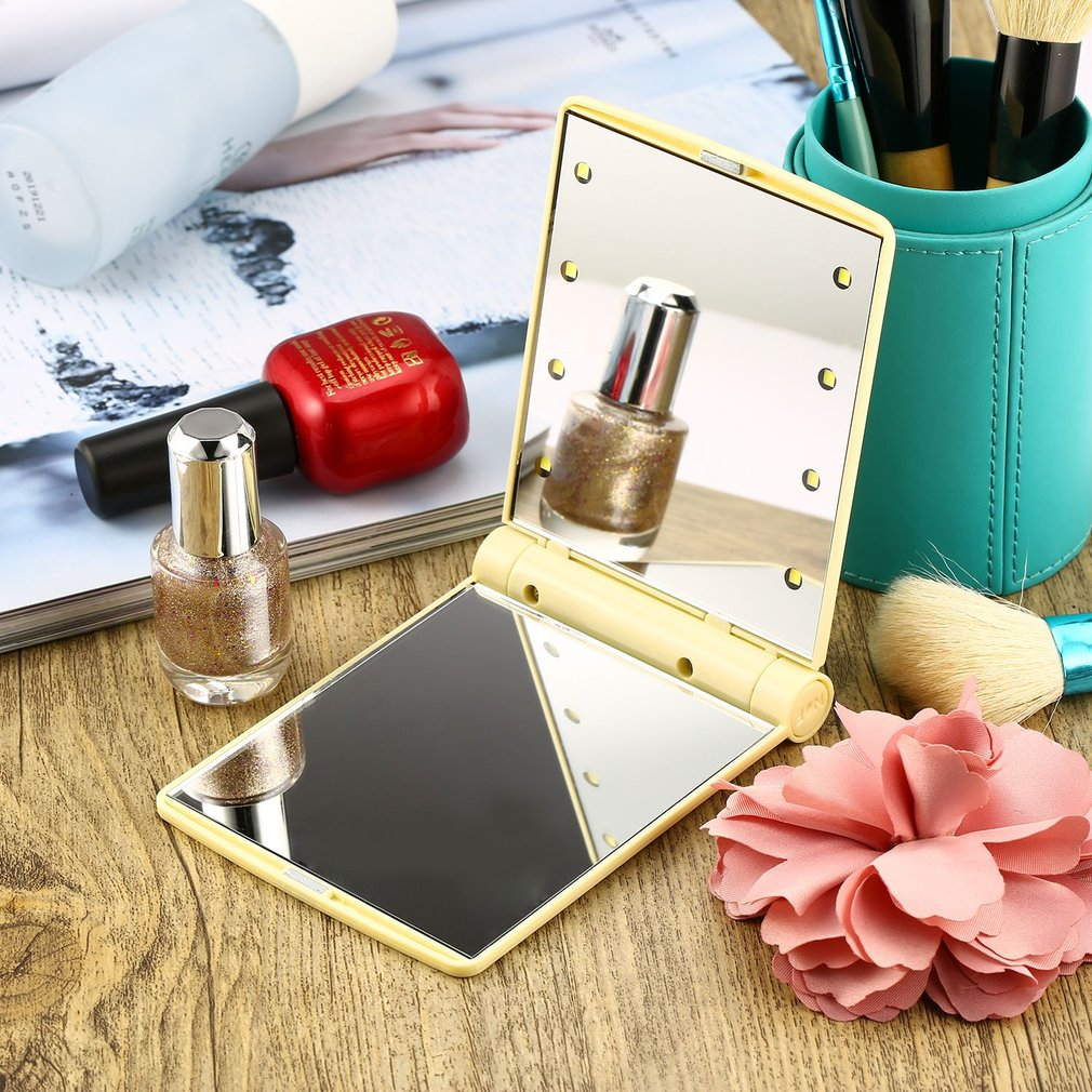 ICOCO Folding Magnetic Opening Portable Pocket LED Make Up Mirror Lady Cosmetic Vanity Mirror Gift Built-in LED Bulbs Mirror New