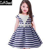 2018 Newest Children Dresses Girls O Neck Striped Patchwork Lace Ball Gown Party Dress Kids Wedding