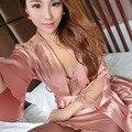 2 PCS Mulher Imitação de Seda Camisola Feminina Lingerie Sexy HomeDress Night-Robe Vestido Sleepwear 89