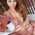 2 PCS Woman Imitation Silk Nightgown Female  Sexy Lingerie HomeDress Night-Robe Dress Sleepwear 89