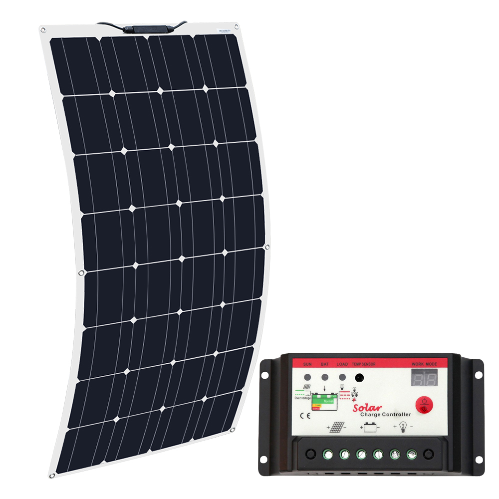 Boguang Brand Solar Battery Flexible Solar Panel 100W 12V 24v Controller 10A Solar System Kits for Fishing Boat Cabin Camping-in Cellules photovoltaïques from Electronique    1