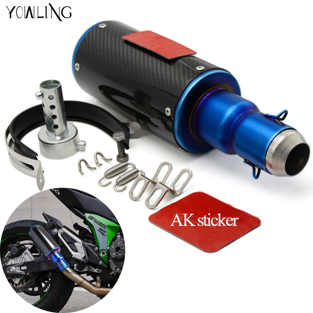 motorbike accessories carbon fiber Motorcycle exhaust  pipe muffler  For Suzuki GSXR600 GSXR700 GSXR1000 K1 K2 K3 K4 K5 K6 K7 K8 free shipping carbon fiber id 61mm motorcycle exhaust pipe with laser marking exhaust for large displacement motorcycle muffler