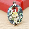 30*41mm Women Natural Abalone seashells Yellow flower pendants delicate gifts Hot sale Fashion Series Retail and wholesale