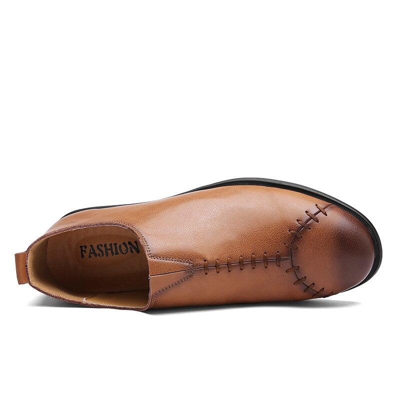 Alta Black Homens Sobre dark Couro Brown Dos Casual À De Feitas Confortáveis Masculinos Deslizar Mocassins Brown Sapatos Marca Qualidade light Mão Da ZUpqTP