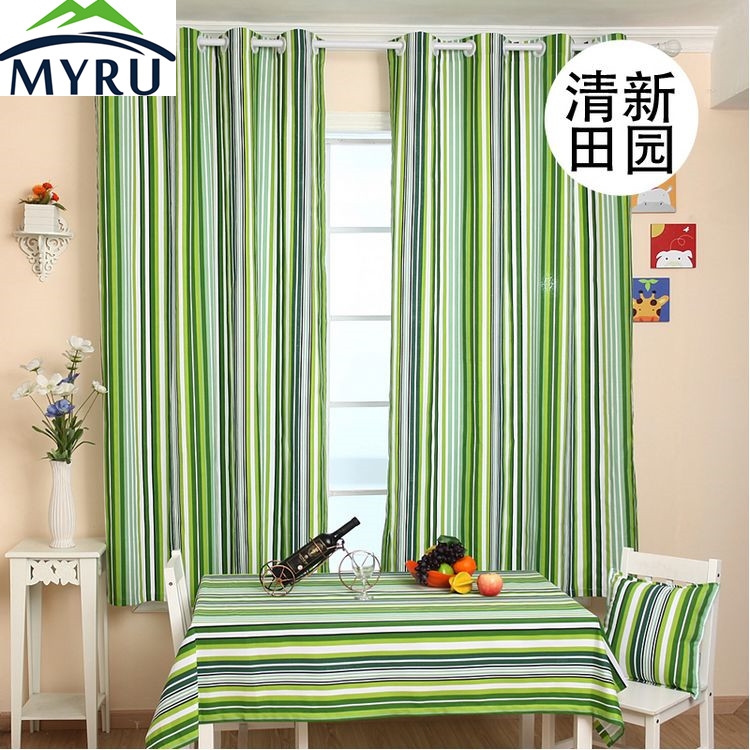 MYRU Tuin stijl groene gestreepte canvas gordijnen slaapkamer ramen ...