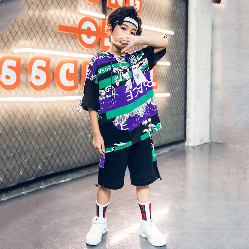 Children Jazz Dance Costumes For Boys New HipHop Costume Kids Street Dance Clothing Tops And Shorts Suit 2pcs Stage Wear DQS2038