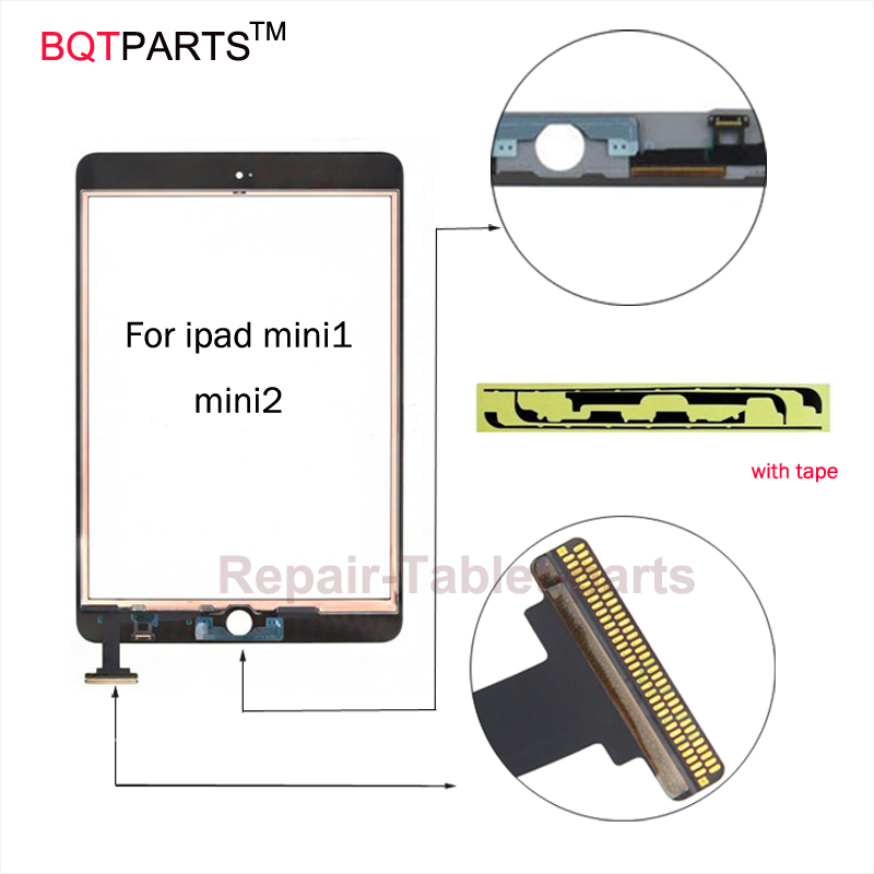 BQT Replacement Glsss screen for Ipad Mini1 mini2 Touch Screen digitizer Without IC with tape parts 100% Tested White / Black