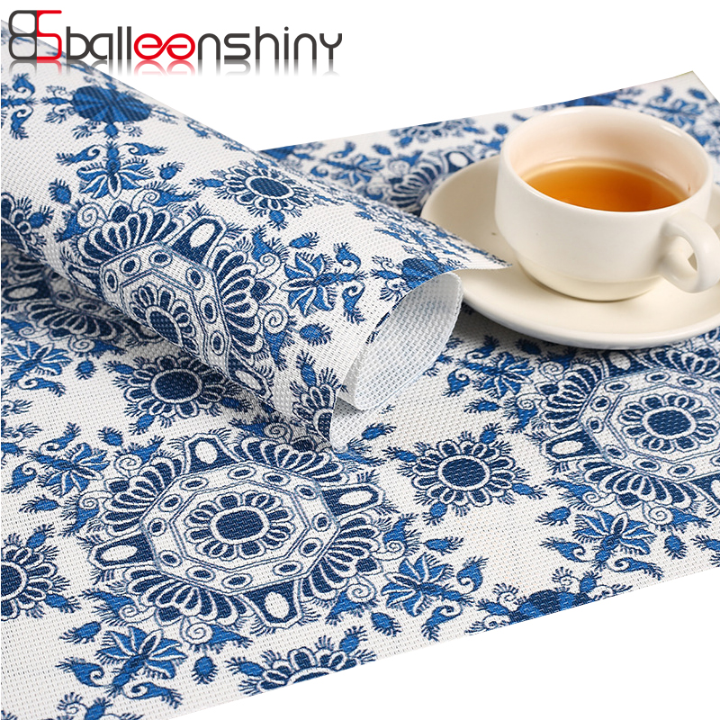 BalleenShiny PVC Placemat Dining Table Mats Set Waterproof Table Cloth Bowl Pad Dining Tray Coasters kids Tableware Set ...