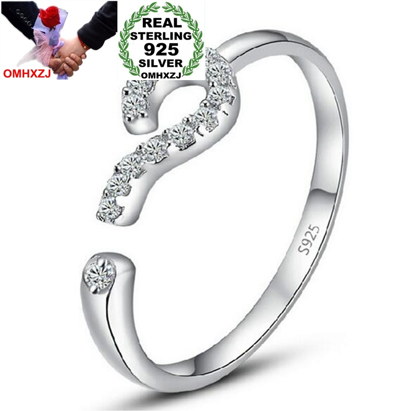 OMH Wholesale Simple Romantic Question Mark AAA Zircon 925 Sterling Silver open adjust female for Woman Man Ring RG22