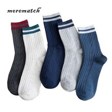 Morematch 2018 Harajuku Striped Over Ankle Comfortable Warm Socks Solid Color Business Knitted Cotton High Men