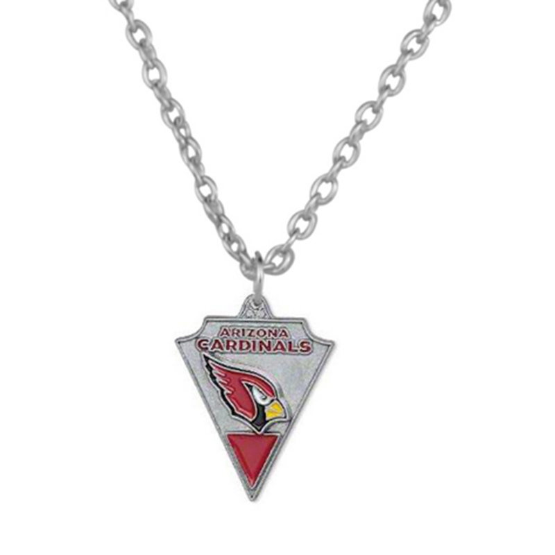 10 Pcs Enamel Heart Football Team Logo Arizona Cardinal Pendant Necklace Sport Charm Link Chain Necklace