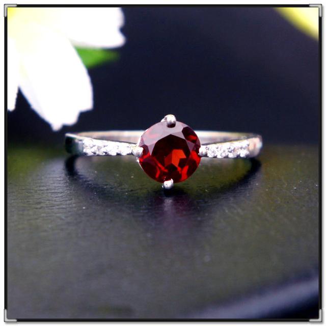 CoLife Joyería classic brand new blood red granate natural anillo para la muchacha al por mayor real 925 plata esterlina sólida joyas de granate