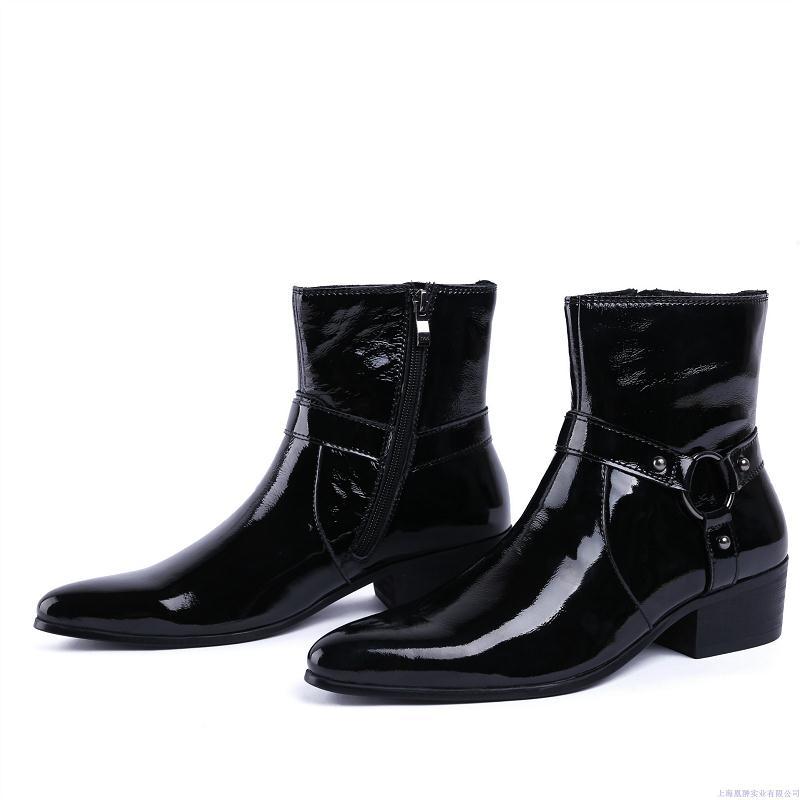 Invierno Tacón Nuevo Negro Zapatos Alto Pie Del Moda Moto Cuero Dedo Hombres Puntiagudo Tobillo Mycolen De Los Diseño Otoño Botas Genuino qECwxAvv