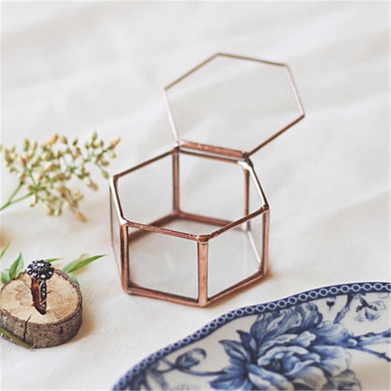Mini Hexagon Geometric Wedding Ring Box Ring Bearer Box Tabletop Succulent Plants Planter Wedding Decoration4