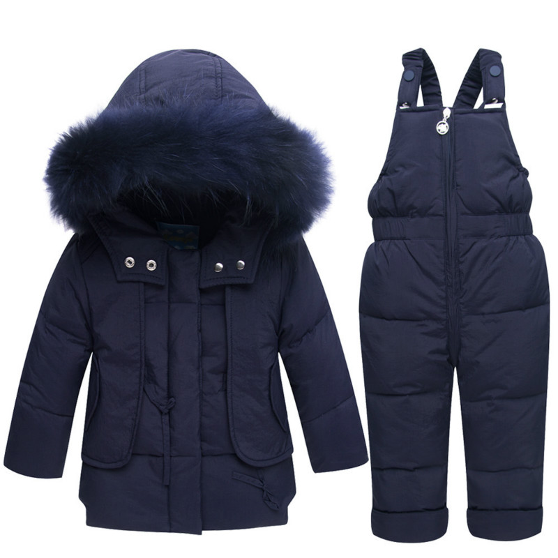 Winter Suits for Girls Boys Children Clothing Sets Baby Snow Jackets + Jumpsuit Pants Kids Duck Down Hooded Coats Outerwear Suit honeyking 2pcs child waterproof boys girls clothing sets double layer boys girls jackets rain pants kids hooded raincoat suit