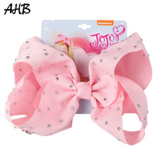 AHB 8 Inch Solid Jumbo Hair Bows with Clips for Girls Rhinestone Ribbons Hairgrips Handmade Barrettes Kids Accessories