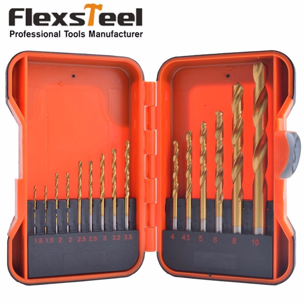 Flexsteel High Speed Steel Titanium Coated Twist Drill Bit Set, 16-Piece, Pro Case 1.5,2,2.5,3,3.2,3.5,4,4.5,5,6,8,10MM 13pcs set hss high speed steel twist drill bit for metal titanium coated drill 1 4 hex shank 1 5 6 5mm power tools par ad1038