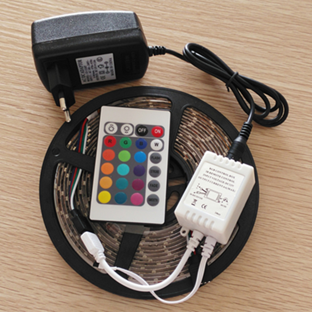 5M 3528 RGB LED Strip 300 SMD Non-Waterproof LED Flexible Light Tape + 24W Power Adapter +( Only RGB have 24 Keys IR Controller