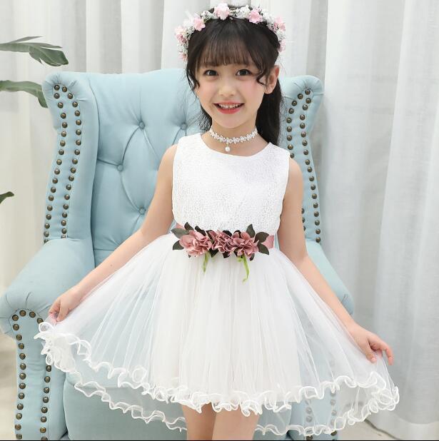 Letnie dzieci dzieci noworodka dziewczynek sukienka niebieski biały żółty fioletowy łuk kwiat wiosna suknia Tutu sukienki ubrania
