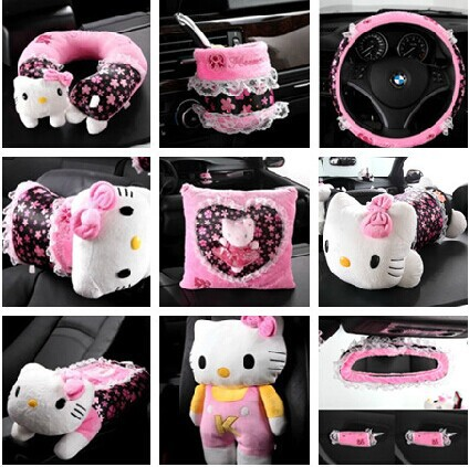 Free shipping Hello Kitty florid Lace Series car accessories 14 sets ...