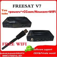 Freesat V7 5 unids powervu + free wifi newcam Youtube Videos gratis DVB-S2 1080 p ccam decodificador FREESAT V7 Receptor de Satélite