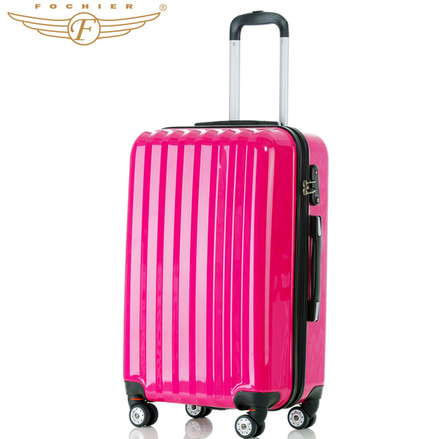 """Fochier 1 pieces ABS+PC  24"""" 28"""" Inches Travel Luggage Suitcase Durable Cabin Case In Bright Rose Red Color New 2016"""