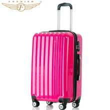 Fochier 1 pieces ABS+PC  24″ 28″ Inches Travel Luggage Suitcase Durable Cabin Case In Bright Rose Red Color New 2016