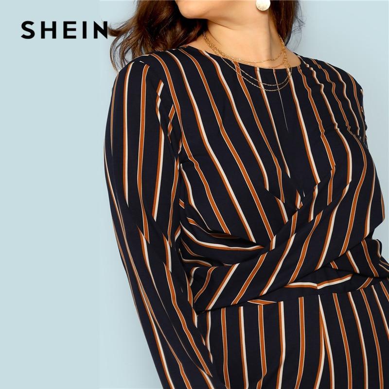 bc4e56e9201 SHEIN Multicolor Stripe V Neck Back Plus Size Women Elegant Striped  Jumpsuit Office Lady Cross Wrap Detail Loose Long Jumpsuit-in Jumpsuits  from Women s ...
