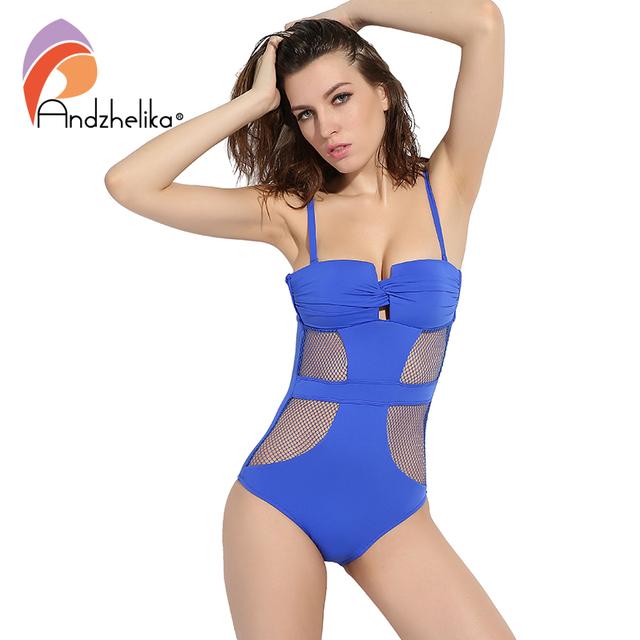 Andzhelika 2017 Newest One Piece Swimsuit Women Sexy Mesh Swimwear Hollow Out Bodysuit Bathing Suit Monokini Beach Swimming Suit