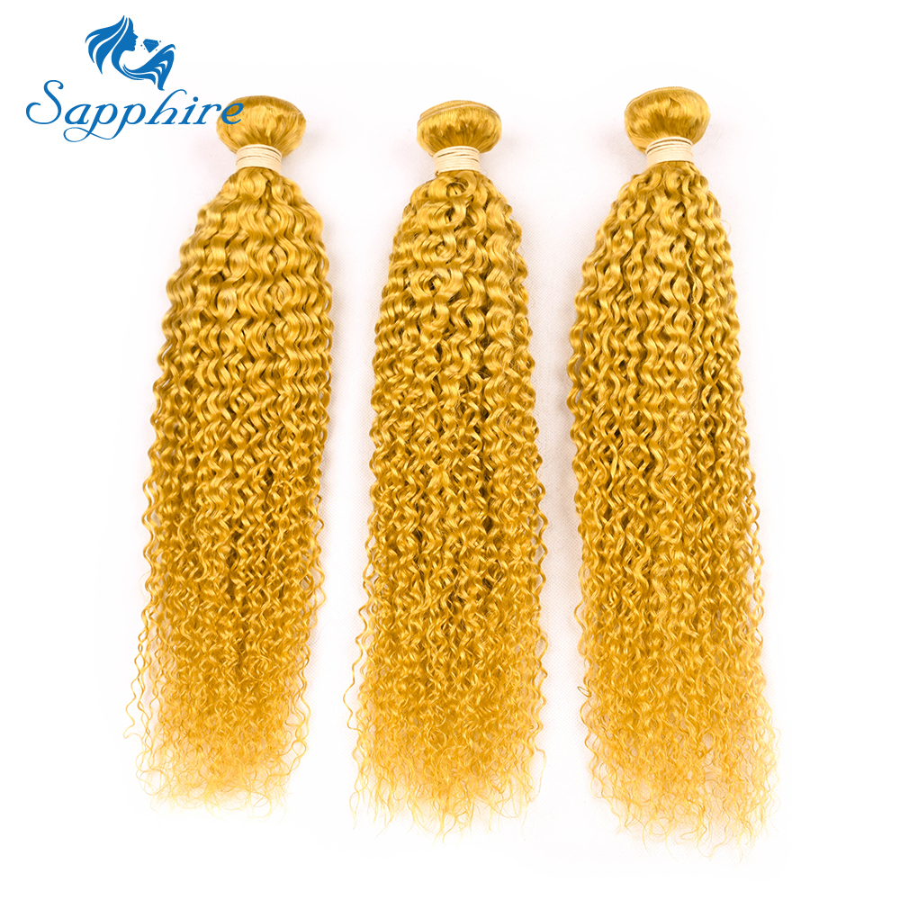Sapphire Brazilian Kinky Curly Human Hair Extensions 8-28inch Pre-Colored YELLOW Color H ...