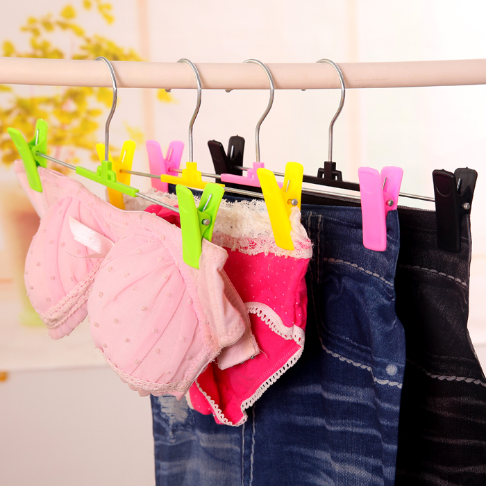 10Pcs Strong Antiskid Plastic Hanger Bra Underwear Briefs Trousers Rack Baby Clothes Coat Hangers Hook Skirt Clip 4 Color