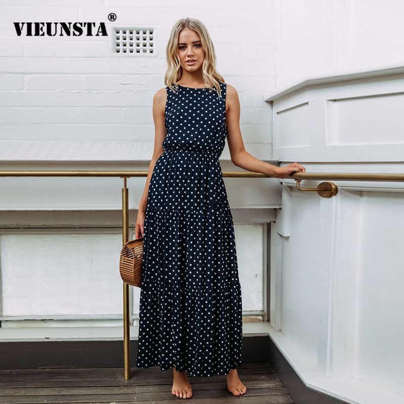 2365a5d0758 VIEUNSTA Hot Bohemian Polka Dot Print Beach Tunic Sundress Women O Neck  Sleeveless Maxi Dresses Summer