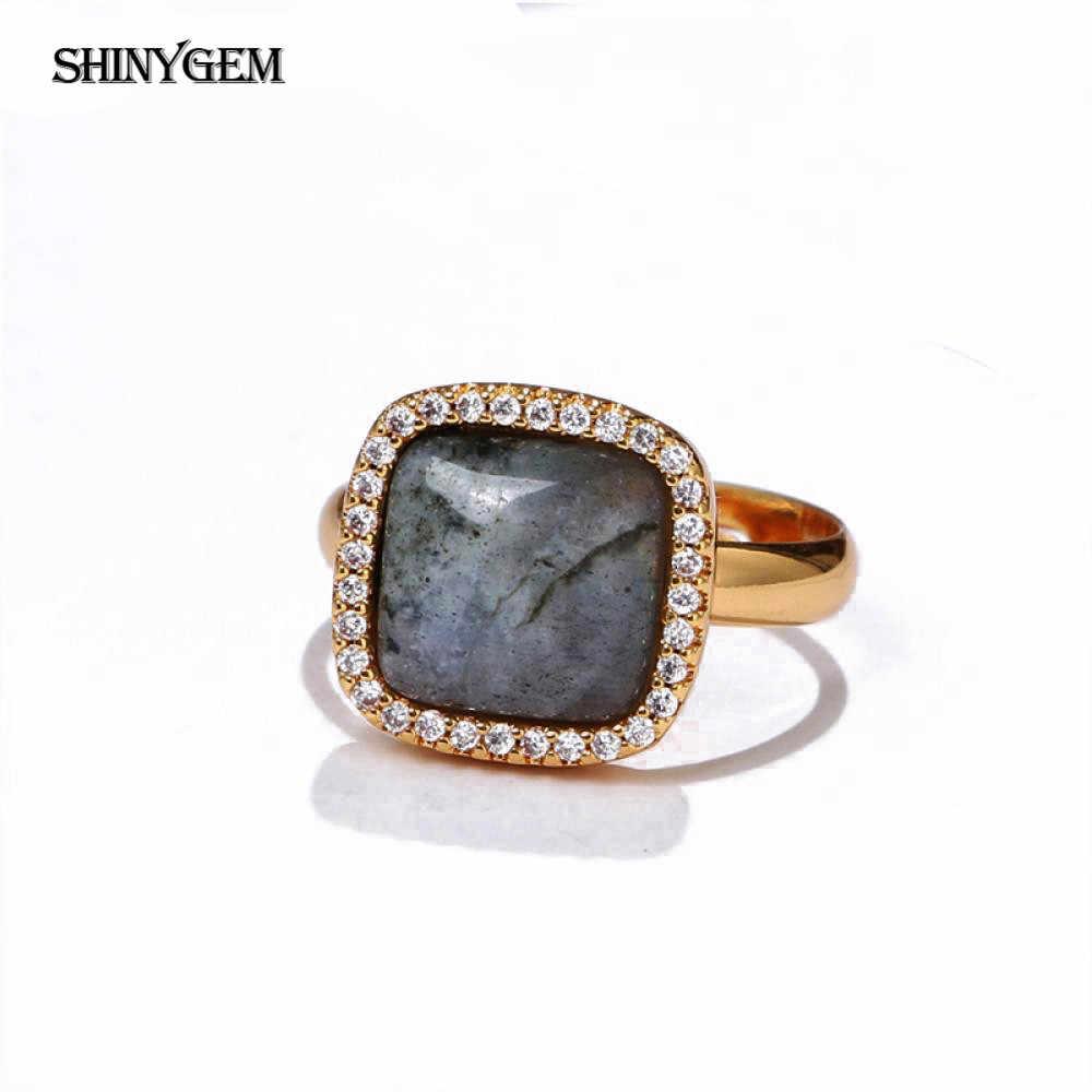 ShinyGem สีดำธรรมชาติ Labradorite แหวนสี่เหลี่ยม/สามเหลี่ยม/หัวใจรักแหวนหินชุบทองแหวนหมั้นแหวน