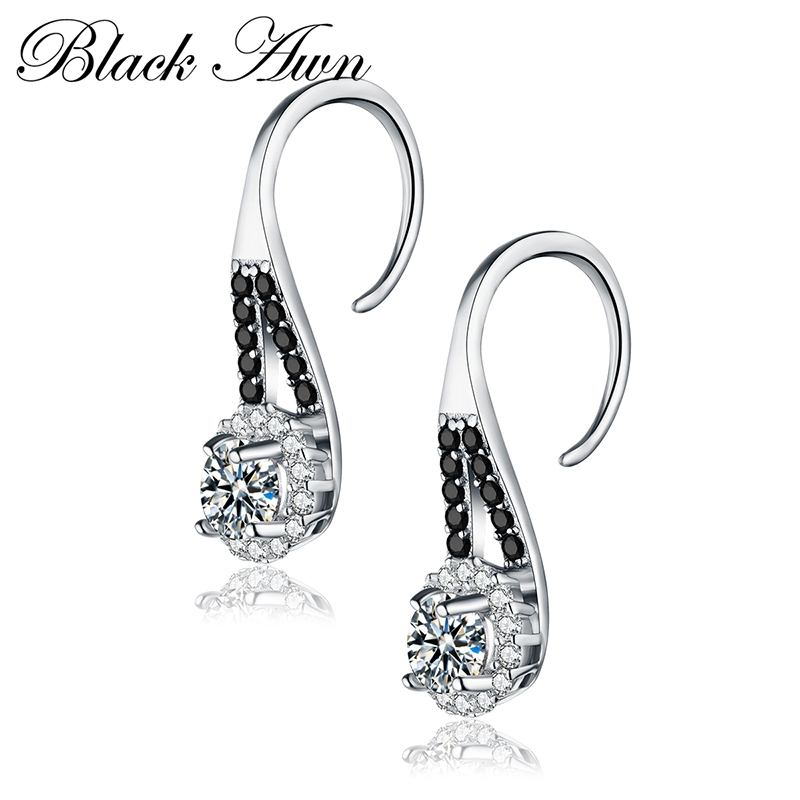 Black Awn 2019 New Trendy 925 Sterling Silver Earring Black Spinel Anniversary Drop Earrings for Women Fine Jewelry TT120