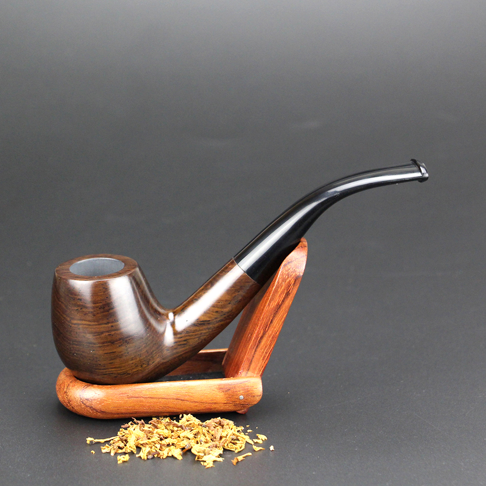 Classic Bent Ebony Wood Pipe with Tools 9mm Filter