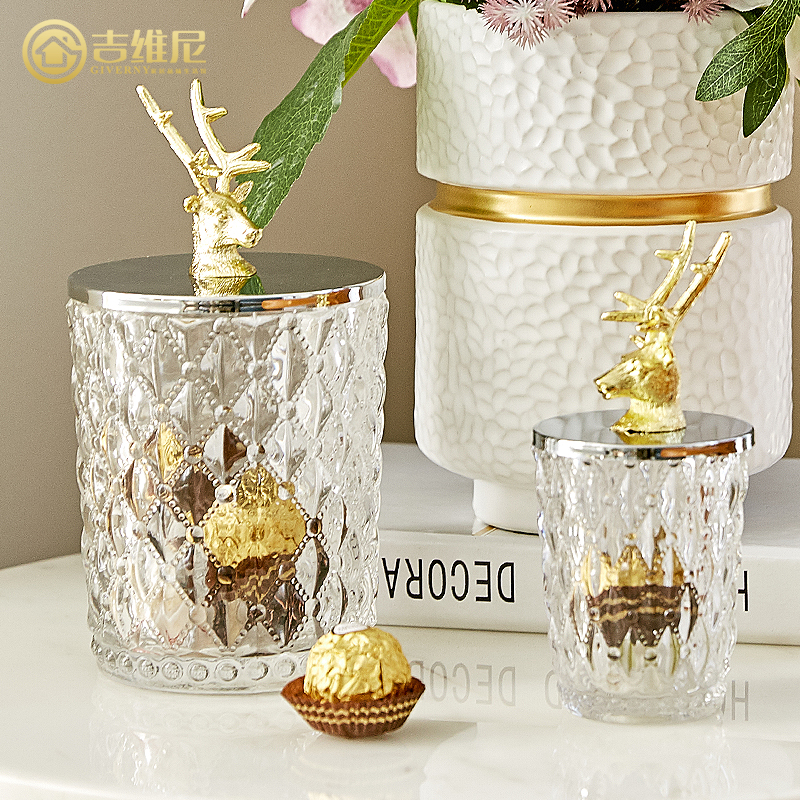 creative Glass storage tank statue Metal deer head storage jars home decor crafts room decoration objects office study figurines