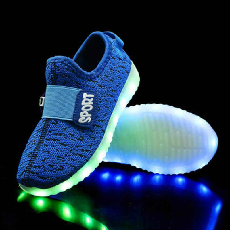 2019 เด็ก Led Usb Charging Glowing รองเท้าเด็กกีฬารองเท้าเด็กเรืองแสงรองเท้าผ้าใบสาวรองเท้าส่องสว่าง Led EUR 25-37