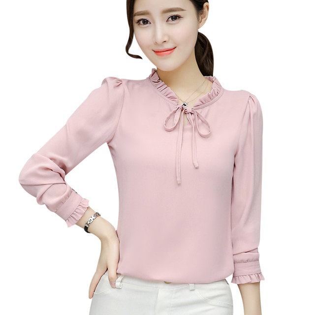 af628462733 Elegant 2018 Shirts Blouse Chiffon OL Women Long Sleeve Stand Collar Bow  White Tops Office Wear Slim Blusa Black Pink Navy Blue