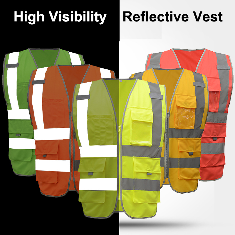 SFvest hi vis yellow vest blue safety vest reflective polyester knitted reflective vest company logo printing free shipping jiade two tone hi vis safety vest reflective