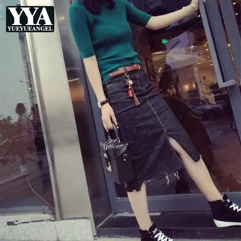 2019 High Waist Women Denim Skirts Korean Oversize Large Size 5XL Split Ripped Summer Office Lady Jeans Skirts Fashion Clothes