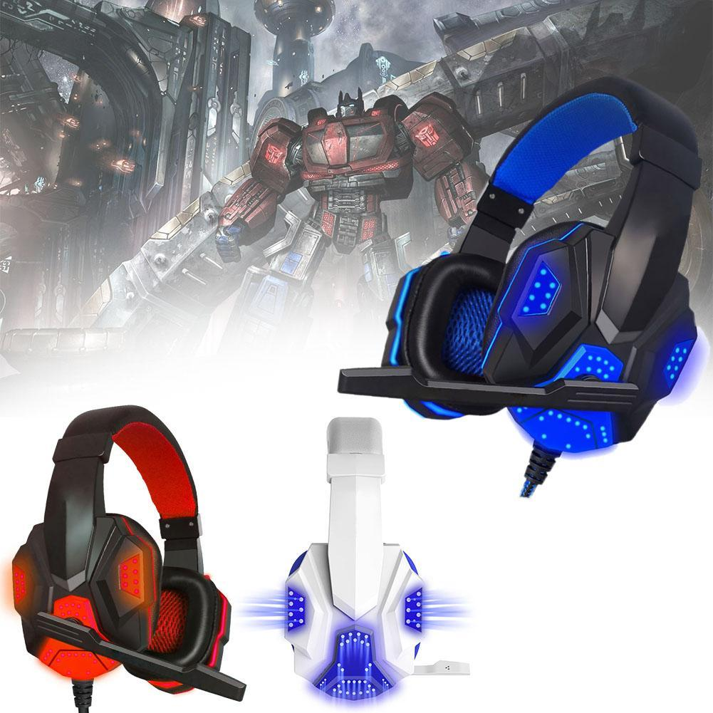 soyto sy855mv gaming headset gamer stereo headphones headband earphones with microphones led light wire control for pc desktop Anti-noise LED Light Stereo bass Gaming Headset For PC Gamer encouter Glow Headphones With MIC USB+3.5mm Audio Cable color A273