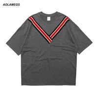 Aolamegs Men T Shirt V Stripe Casual Preppy Style T Shirt Drop Shoulder Tide Streetwear Tops